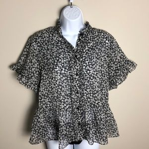 French Connection Print Blouse Size L